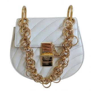 Chloe White Leather Small Bijou Drew Bag