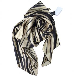 Balenciaga Gold & Black Silk Printed Scarf