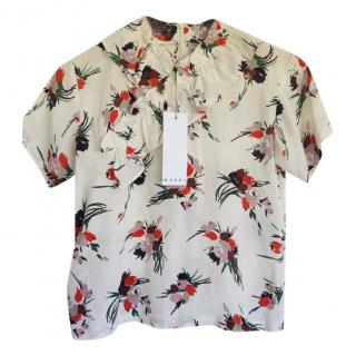 Marni White Girl's Printed Blouse