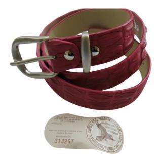 bespoke Red Crocodile Leather Belt