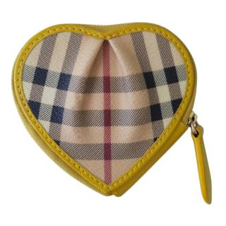 Burberry Nova Check Leather Trimmed Heart Coin Purse