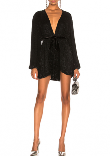 Retrofete Black Sequin Gabrielle Robe Dress