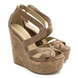 Jimmy Choo Beige Leather Lace Wedge Sandals