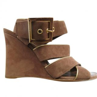 Louis Vuitton brown Suede Strappy Wedge Sandals