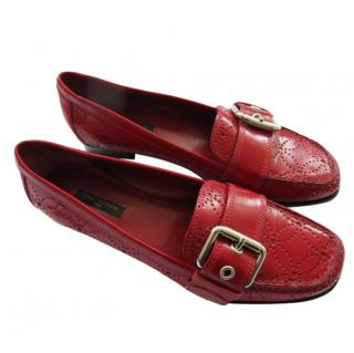 Louis Vuitton Red Lasercut Moccasin Loafers