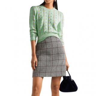 Miu Miu Mint Green Embroidered Cashmere Knit Jumper