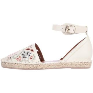 Valentino Laser Cut Leather Espadrille Flats