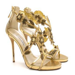 Oscar de la Renta Gold Embellished Heels