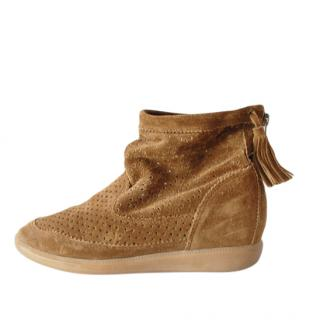 Isabel Marant Tan Wedge Suede Booties
