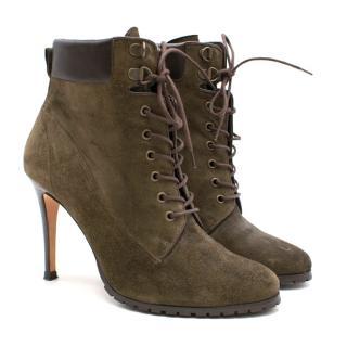 Carolina Herrera Suede Lace Up Khaki Heeled Ankle Boots
