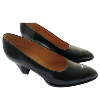 Hermes Black Round Toe Leather Pumps