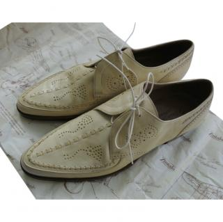 Silvano Lattanzi Cream Lasercut Lace-Up Oxfords
