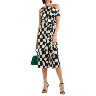 Oscar De la Renta Black & White Asymmetric Midi Dress