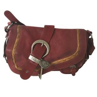 Dior Red Leather Vintage Gaucho Saddle Bag