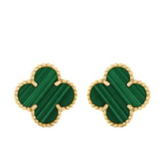Van Cleef & Arpels Vintage Alhambra Earrings - Yellow gold & Malachite