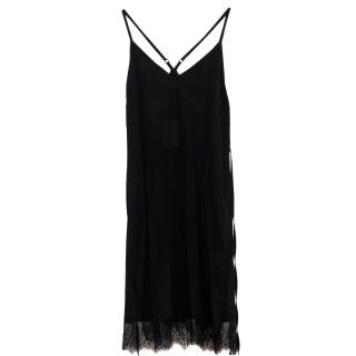 Anine Bing black lace trim slip dress