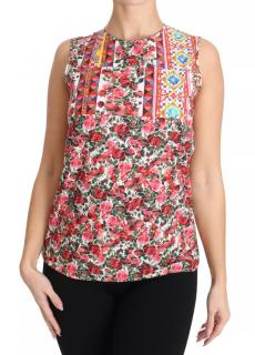 Dolce & Gabbana Red rose print cotton top