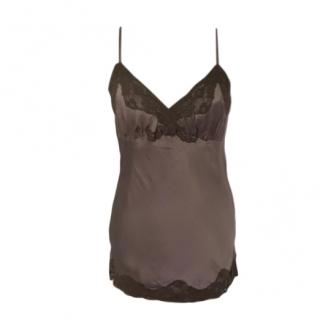 Gold Hawk Brown Silk Lace Trimmed Cami Top