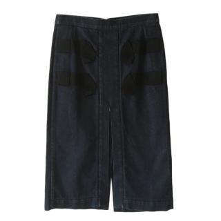 No.21 Denim Grosgrain Panelled Skirt