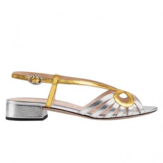 Gucci Silver & Gold Leather Metallic Sandals