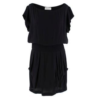 A.L.C Black Ruffle Shift Dress With Elasticated Waist