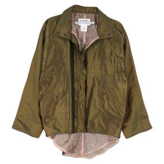 Chanel Identification Oversize Iridescent Silk Jacket