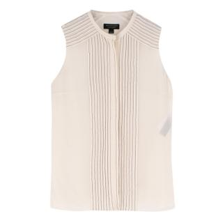 Burberry Cream Silk Blend Sleeveless Blouse