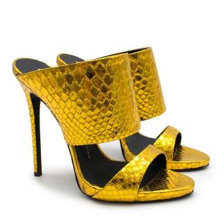 Giuseppe Zanotti Gold Metallic Andrea Heeled Mules