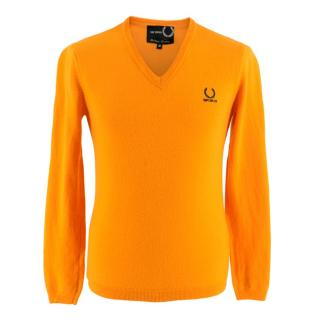 Fred Perry x Raf Simons Orange Wool V-Neck Sweater
