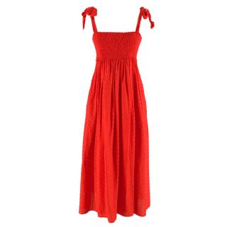 Marysia Red Smocked Strapless Midi Dress