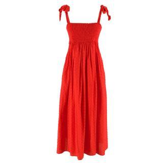 Marysia Red Smocked Strapless Midi Dress