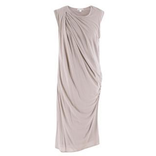 James Perse Grey Draped Cotton Jersey Dress