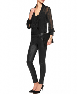 Maje Black Knife Stretch-leather Skinny Pants