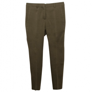Burberry Prorsum Olive Green Wool and Silk Blend Trousers