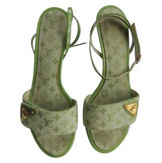 Louis Vuitton Green Monogram Canvas Sandals