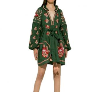March 11 embroidered green cotton dress
