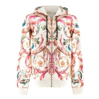 Just Cavalli Floral Printed White Cotton Zip-Up Hoodie