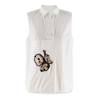 Marni Sleeveless White Embellished Sleeveless Shirt
