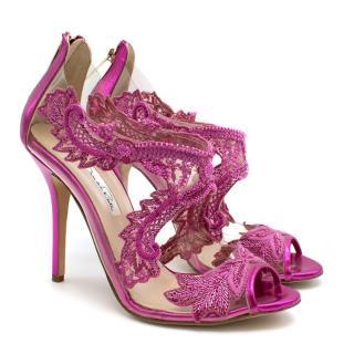 Oscar De La Renta Pink Embellished Pumps