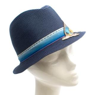 Prada Peacock Embroidered Blue Straw Hat
