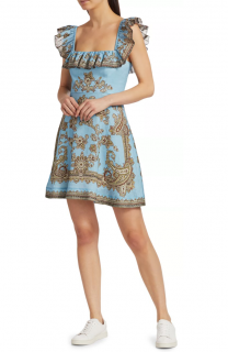 Zimmermann Blue Fiesta Ruffle Neck Dress - New Season