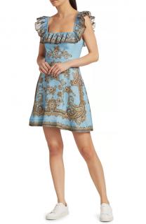 Zimmermann Blue Fiesta Ruffle Neck Dress - New Season