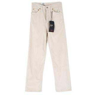 Levi's Ecru Ribcage Straight Ankle Corduroy Trousers