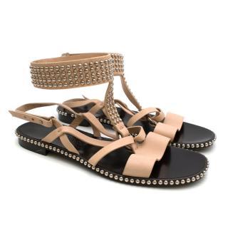 Salvatore Ferragamo Beige Studded Sandals