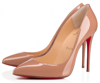Christian Louboutin Nude Pigalle Follies 100 Patent Leather Pumps