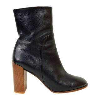Celine Black Leather Block Heel Ankle Boots