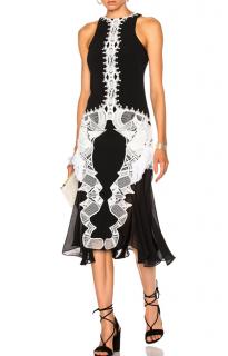 Jonathan Simkhai Sleeveless Black Dress with White Embroidery