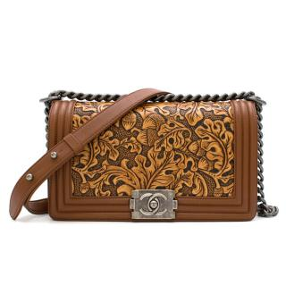 Chanel Calfskin Embossed Medium Cordoba Brown Boy Bag