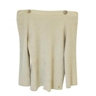 Chanel Off-Shoulder Cashmere & Silk Ribbed Jumper