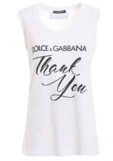Dolce & Gabbana White Thank You Print Sleeveless Top